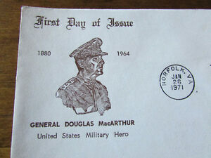 1971 GENERAL DOUGLAS MacARTHUR 6 Cent First Day Cover Kitchener / Waterloo Kitchener Area image 3