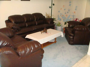 BRAND NEW 3 PIECE LEATHER SOFA LOVE SEAT AND CHAIR - QUICK SALE