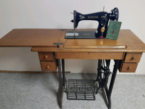 Antique Singer sewing machone and table