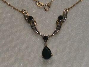 Collier en or 10k sapphires et diamants 2.41ct / Necklace