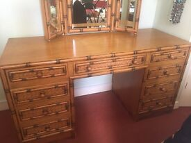 Beautiful bamboo/wicker dressing table and mirror