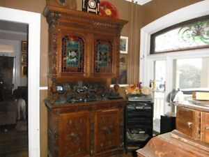 Antique Stained Glass Cabinet
