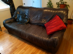 Leather black couch and chair