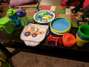 Baby/toddler dishes, utensils, and bibs