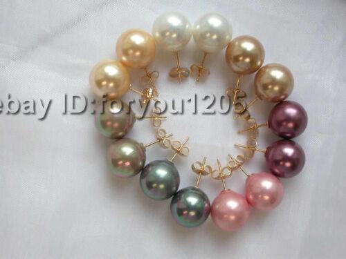 wholesale 7 pieces Sea Shell Pearl Earrings 14K!