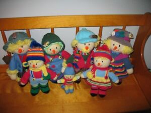 Knitted Scarecrow Family of Dolls