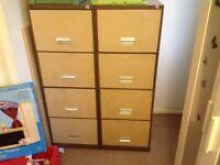 2 metal 4 drawer filing cabinets with keys