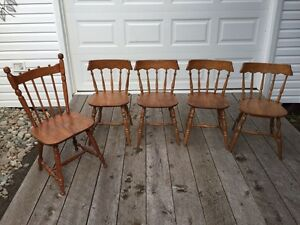 5 solid wood kitchen chairs