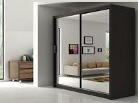 Berlin 2 Door Corner Wardrobe Bedroom Set High Gloss Black and White Furniture in all dimensions
