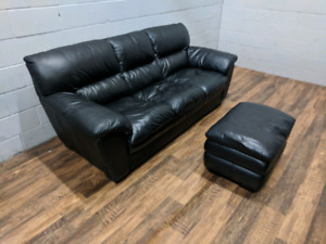 (Free Delivery) - Black genuine leather sofa and ottoman