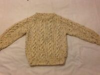 Hand knitted Aran sweater age 3-4
