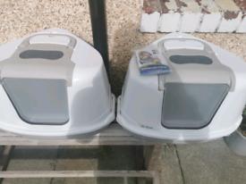 Corner Cat Flip Litter Tray Hooded Pan Toilet + new filters