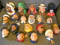 19 VINTAGE BOSSONS PLASTER CHALKWARE FACES HEADS