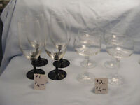 Wine glasses – various sizes and prices