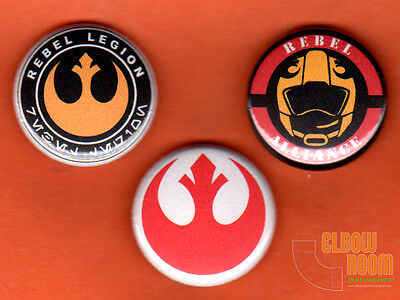 "Set of three 1"" Star Wars rebel pins buttons"