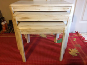 Solid Wood Nesting Tables (3 Pieces) - Antique Finish - $90