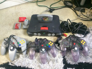 Nintendo 64 with controllers and other accessories