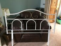 White and Gold Metal Headboard