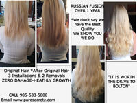 HAIR EXTENSIONS*Russian Fusion-GUARANTEED for Up to 1 YEAR
