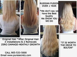 HAIR EXTENSIONS*Russian Fusion-GUARANTEED for Up to 1 YEAR Peterborough Peterborough Area image 1
