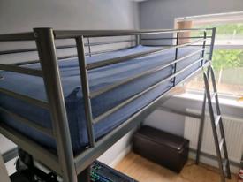 SVÄRTA IKEA Loft bed, silver-colour 90x200cm + mattress