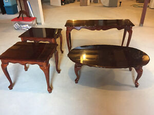Four Piece Table Set, 2 end, 1 coffee and 1 sofa table
