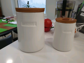 Coffee and Biscuit Jars with Wooden Lids