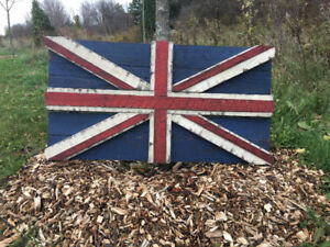 Wood Flags Handcrafted Rustic Canadian, 3D Union Jack 2D Leaf