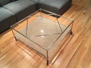 Table de salon en vitre et métal