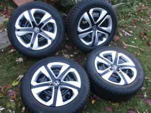 WINTER TIRES + RIMES  205/55/16  HONDA CIVIC  LIKE NEW NEW