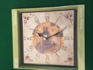 NEW Clock with Wine Motif
