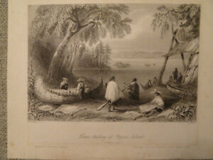W.H. Bartlett Print 1840.Canoe Building at Pappers Island