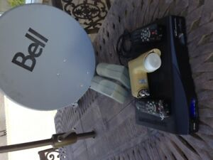 Bell Satellite Dish, LNB, Receiver (2700) and 2 remotes