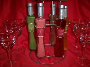 Margarita Bar Stand with 6 Flavors + 4 Cocktail Glasses