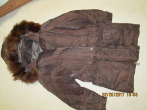 Women Leather Jacket, brown, size Large
