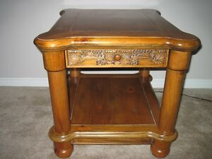 Pair of Solid Pine End Tables with small drawer