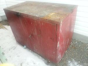 Garage metal storage cabinet workbench