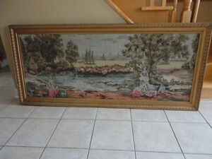 Vintage collectible framed decorative tapestry art wall hanging London Ontario image 1