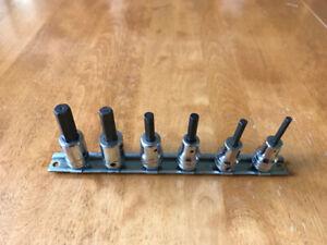 6-piece Snap-On hex allen socket driver set. 3/8 Drive, SAE