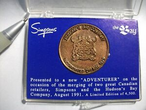 Hudson's Bay / Simpsons Merger Medallion Coin rare