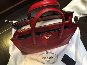 Prada Red Saffiano Leather Shoulder Bag