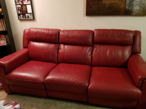 Red leather motorized recliner couch set