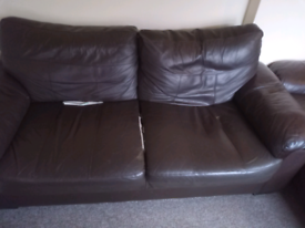 2 chocolate brown Faux leather sofas