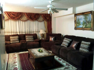3-PIECE RECLINER SOFA & COFFEE/SIDE TABLES