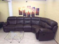 Elegant Brown Reclining Leather Corner Sofa