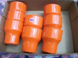 8 Vintage ROSTI Mepal orange Cups Melamine 20$ MINT Eames Autumn