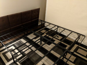 King size folding bed frame with with room for storage under