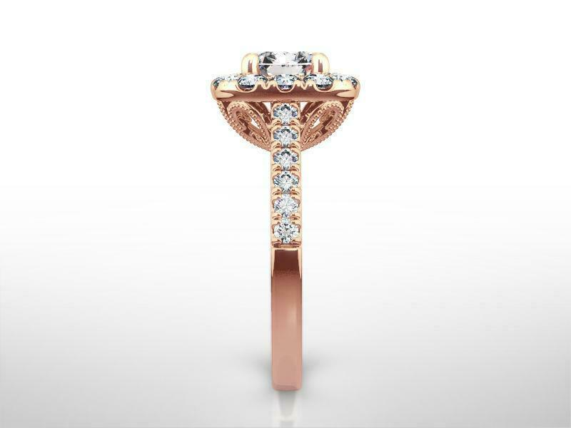 Diamond Halo Ring 1.9 Ct Certified Anniversary 14k Rose Gold Red Si2 Size 6 7 8