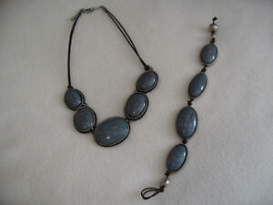 Beautiful Unique Blue Silver Brown Leather Necklace and Bracelet