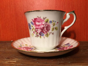 Newhall English Fine Bone China Pink Peony Tea Cup and Saucer